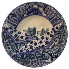Rare Belgium Majolica Asparagus Blue and White Plate Wasmuel, circa 1880