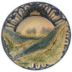 Rare Belgium Majolica Asparagus Plate Wasmuel, circa 1880