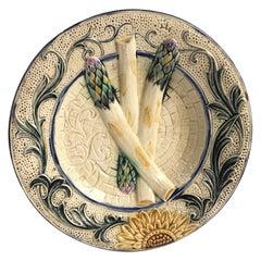 Rare Belgium Majolica Asparagus Sunflower Plate Wasmuel, circa 1880