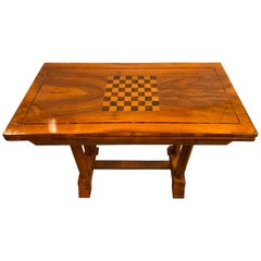 Rare Biedermeier Flip over Game Chess Board Table Movable Top Opens Card Table