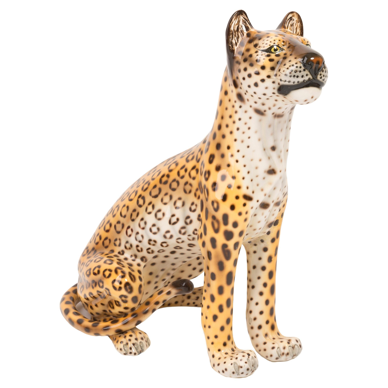 Rare Big Leopard Hand Painted Ceramic Sculpture, Italy, 1960s