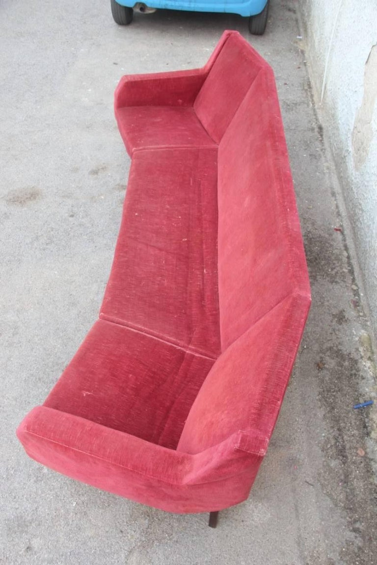 Rare Big Curved Sofa Italian Cassina Attributed to Gigi Radice, circa 1958  For Sale 5
