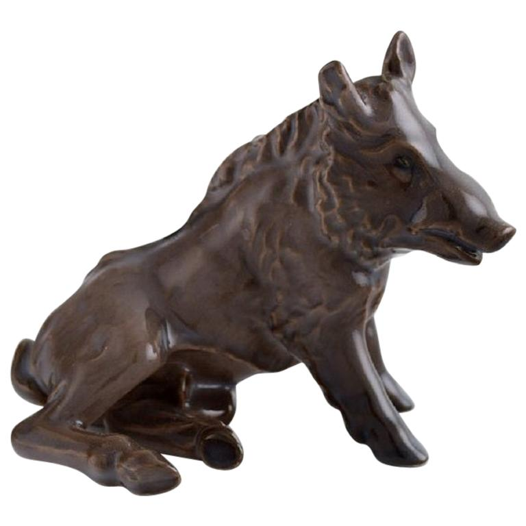 Rare Bing & Grøndahl Porcelain Figure, Wild Boar, 1920s