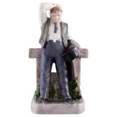 Rare Bing & Grondahl Porcelain Figurine, The Thirsty Man, Model Number 2435