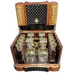 Rare Black and Brown Napoleon III Liquor Cellar Cabinet, Baccarat Crystal Set