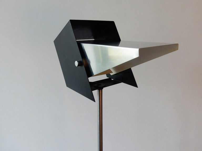 Mid-Century Modern Rare Black and Metal Adjustable Floor Lamp for Lyfa, 1950s-1960s For Sale