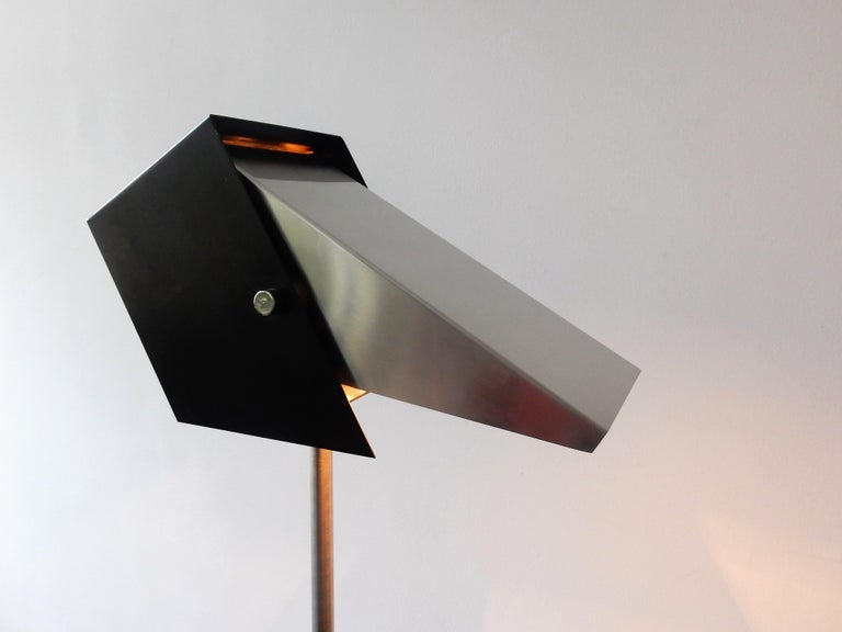 Rare Black and Metal Adjustable Floor Lamp for Lyfa, 1950s-1960s For Sale 3