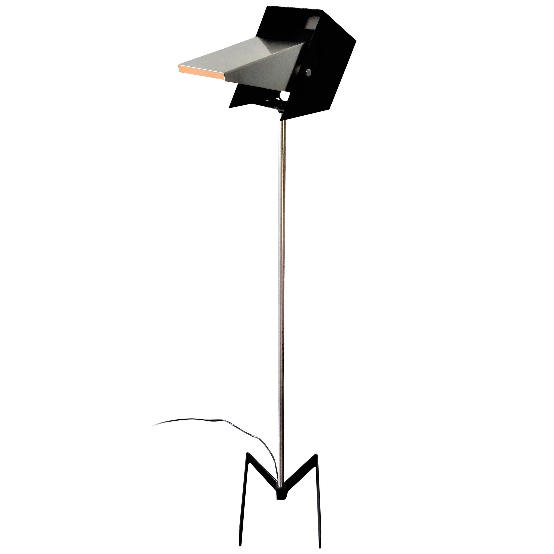 Rare Black and Metal Adjustable Floor Lamp for Lyfa, 1950s-1960s