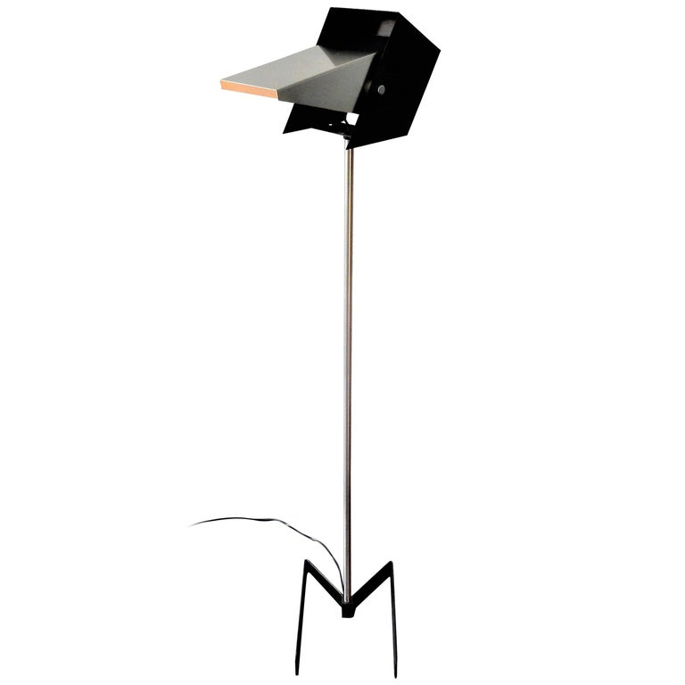 Rare Black and Metal Adjustable Floor Lamp for Lyfa, 1950s-1960s For Sale