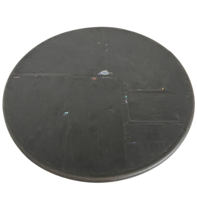 Rare Black Brutalist Round Coffee Table from Paul Kingma, 1990