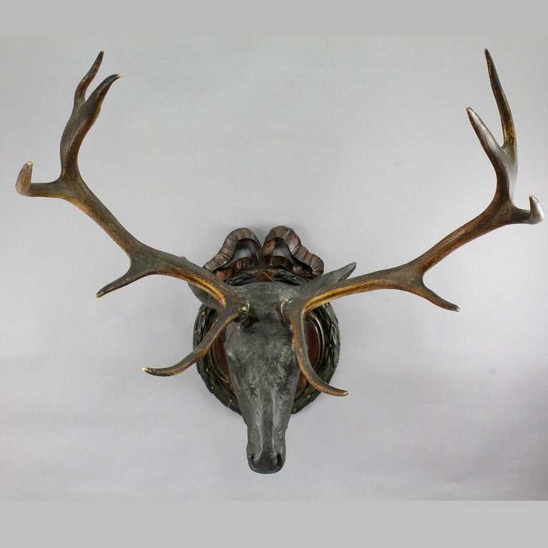 A large antique stag head, made of papier-mâché. With real antlers. Mounted on a carved wood plaque. Executed, circa 1880. (Some old restorations). Width ear to ear 16.93