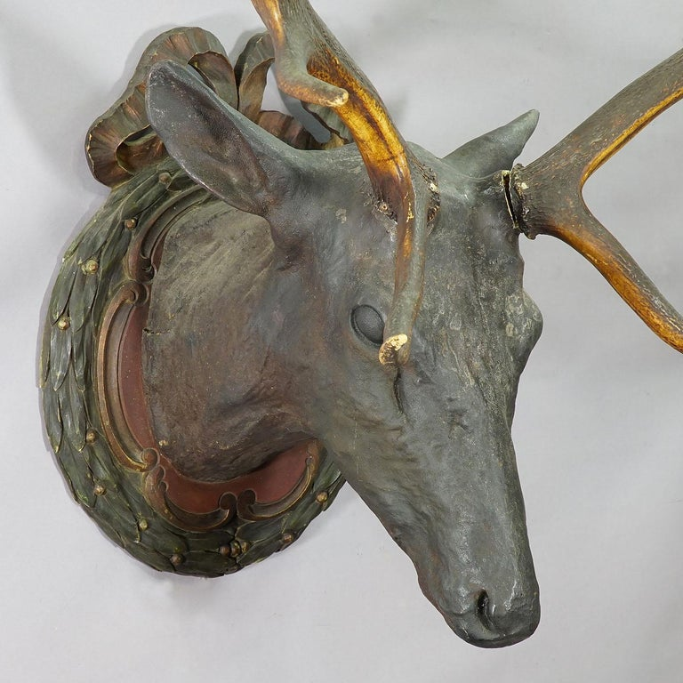 Rare Black Forest Papier-mâché Stag Head, 1880 In Good Condition For Sale In Berghuelen, DE