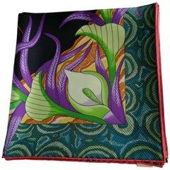 "Rare Black HERMÈS Ardmore Artists design ""La Marche du Zambeze"" 100% Silk Scarf,"