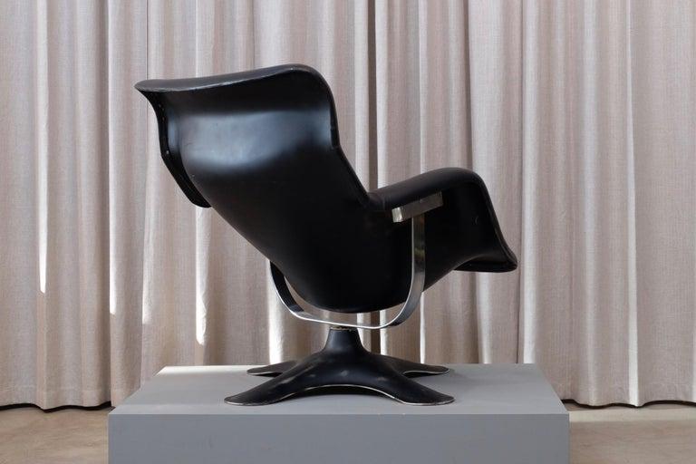 Scandinavian Modern Rare Black Midcentury Karuselli Chair by Yrjö Kukkapuro for Haimi, 1960s For Sale