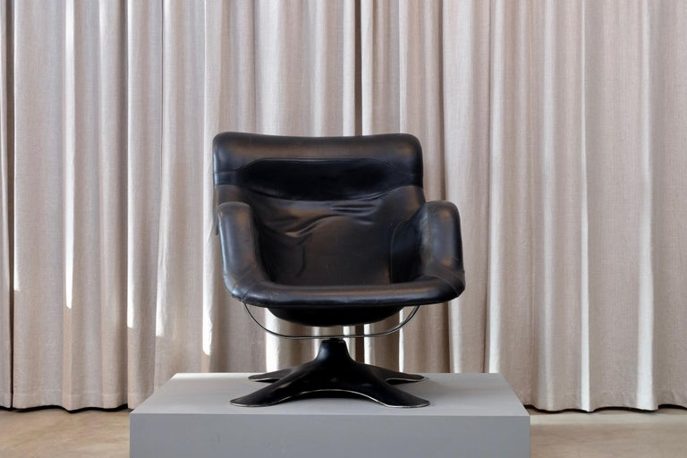 Finnish Rare Black Midcentury Karuselli Chair by Yrjö Kukkapuro for Haimi, 1960s For Sale