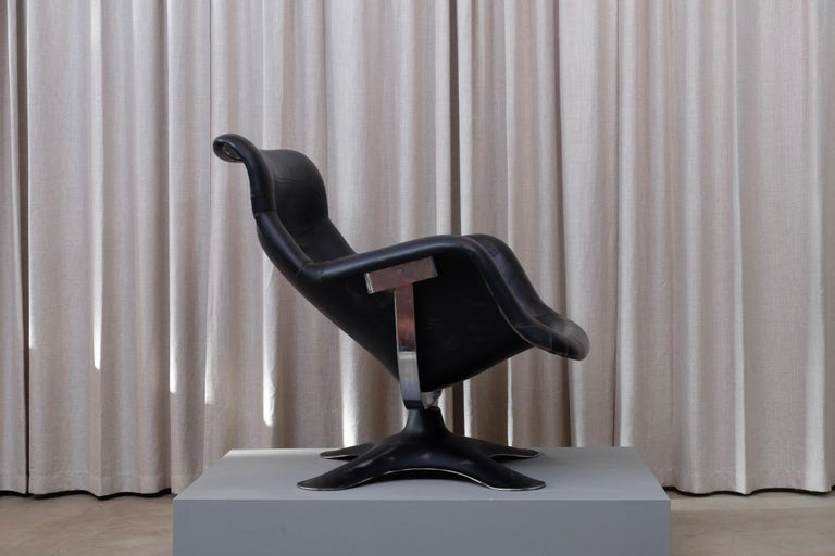 Rare Black Midcentury Karuselli Chair by Yrjö Kukkapuro for Haimi, 1960s In Good Condition For Sale In Stockholm, SE