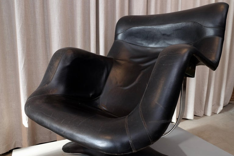 Chrome Rare Black Midcentury Karuselli Chair by Yrjö Kukkapuro for Haimi, 1960s For Sale
