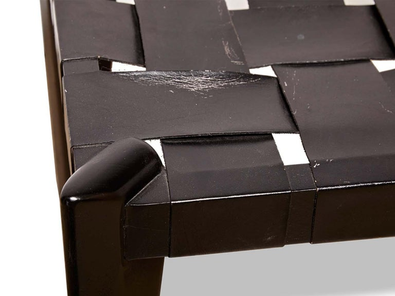 Mid-Century Modern Rare Black Woven Leather Stool by Edmund Spence For Sale