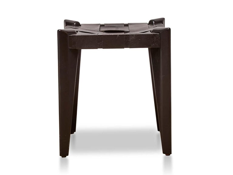 American Rare Black Woven Leather Stool by Edmund Spence For Sale