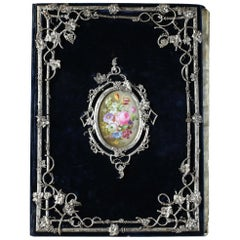 Rare Blotting Paper Case in Silvered Bronze and Porcelain by Maison Tahan