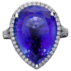 Marcel Salloum Rare Blue 10 Ct Pear Tanzanite Diamond Engagement Ring Platinum