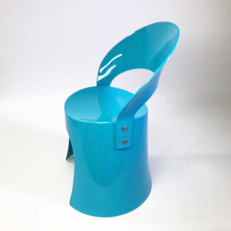 Fiberglass Rare Blue Chair by Nanna Ditzel for Domus Danica, Denmark, 1969 For Sale