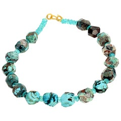 Gemjunky Elegant Rare Blue Ocean Jasper and Apatite Necklace