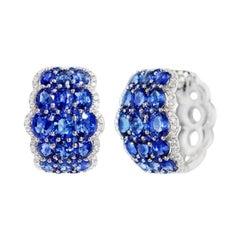 Rare Blue Pure Sapphire White Diamond Dome White Gold Lever-Back Earrings