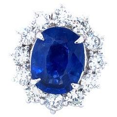 Rare Blue Sapphire 5.91 Ct Burma No Heat & 2.40 Ct Diamonds Ring, AGL Certified