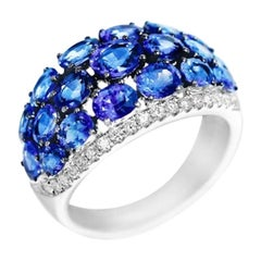 Rare Blue Sapphire White Diamond Dome White Gold Rare Ring