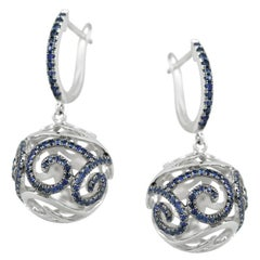 Rare Blue Sapphire White Gold Statement Earrings