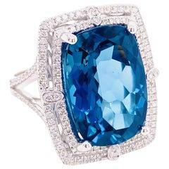 Rare Blue Topaz Ring, 16.11 Carat London Blue Topaz, .66 Carat Diamond, Cushion