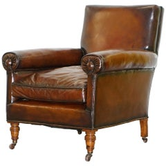 Rare Bluster Arm Hand Dyed Brown Leather Maple & Co. Victorian Club Armchair
