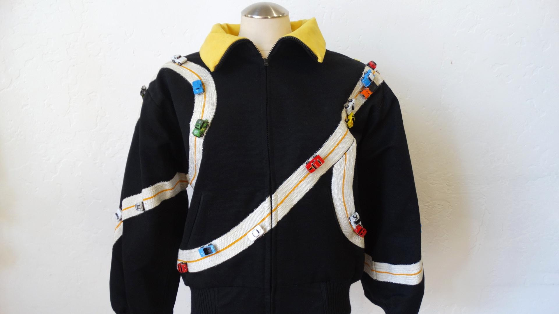 Rare bob mackie toy race car oversized bomber jacket for sale at