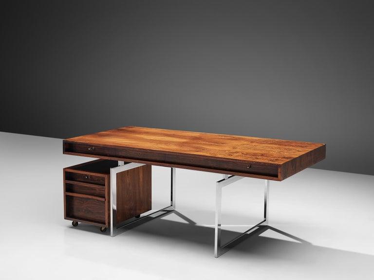 Scandinavian Modern Rare Bodil Kjaer Executive Writing Table and Cabinet