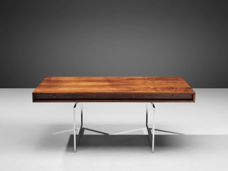 Danish Rare Bodil Kjaer Executive Writing Table and Cabinet