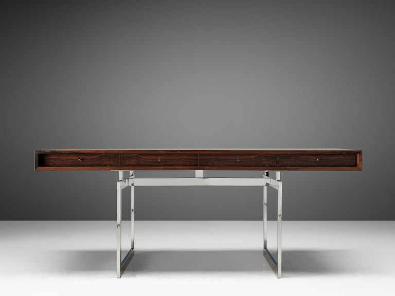 Scandinavian Modern Rare Bodil Kjaer Executive Writing Table and Cabinet For Sale