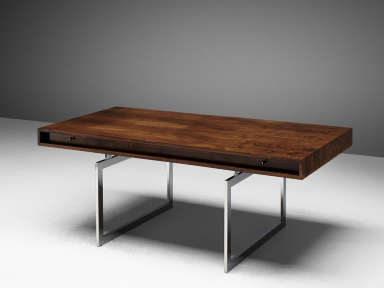 Danish Rare Bodil Kjaer Executive Writing Table and Cabinet For Sale
