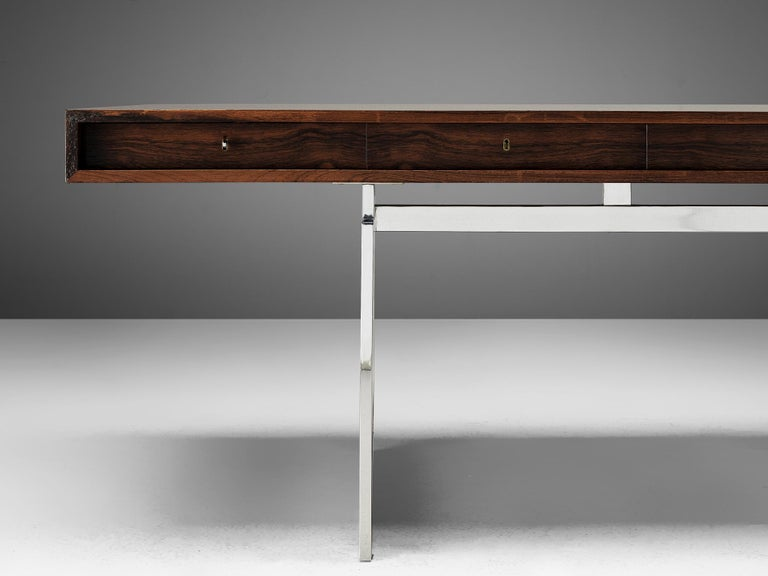 Rare Bodil Kjaer Executive Writing Table and Cabinet In Good Condition For Sale In Waalwijk, NL