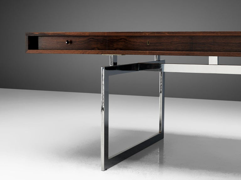 Mid-20th Century Rare Bodil Kjaer Executive Writing Table and Cabinet For Sale