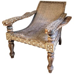 Rare Bone and Eboyn Inlaid Plantation Cane Chair, Anglo-Indian