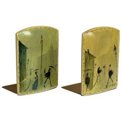 Rare Bookends Hand Painted Night & Day Street Scenes Signed, French, circa 1890