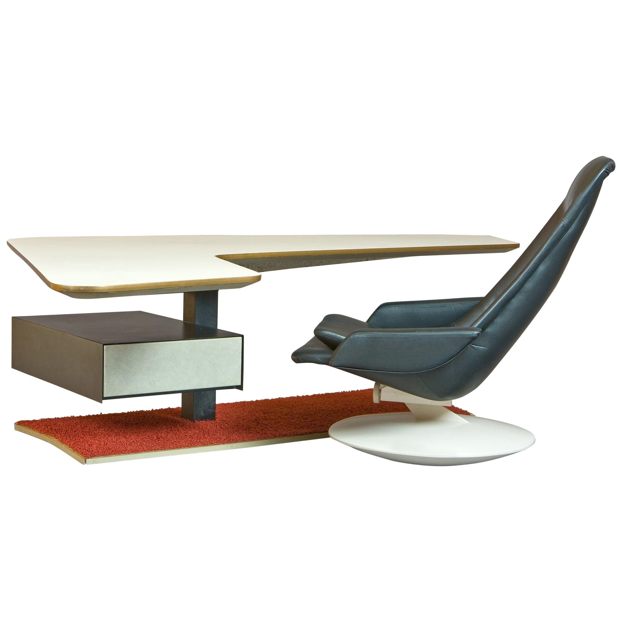 Rare Stunning Atomic Age Boomerang Desk and Gemini Leather Armchair, France 1970