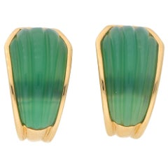 Rare Boucheron Green Chrysoprase Clip-On Half Hoop Earrings in 18 Karat Gold