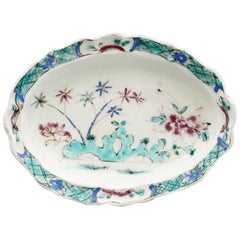 Rare Bow English Famille Rose Pattern Porcelain Dish, 1752-1755