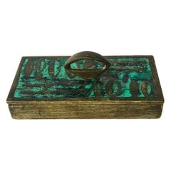 Rare Box Made in Solid Brass and Malachite by Pepe Mendoza