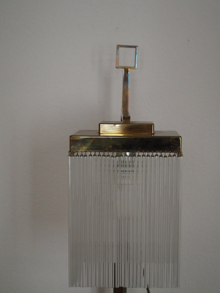 Rare Brass and Glass Floor Lamp From Vienna, Koloman Moser, Otto Wagner Style For Sale 4