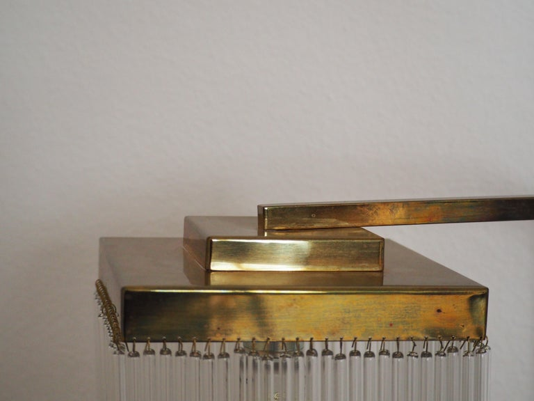 Late 20th Century Rare Brass and Glass Floor Lamp From Vienna, Koloman Moser, Otto Wagner Style For Sale