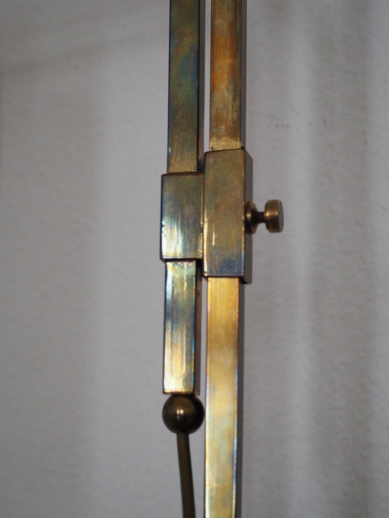 Rare Brass and Glass Floor Lamp From Vienna, Koloman Moser, Otto Wagner Style For Sale 1