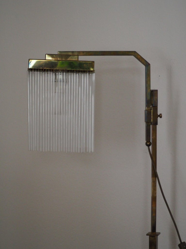 Rare Brass and Glass Floor Lamp From Vienna, Koloman Moser, Otto Wagner Style For Sale 2